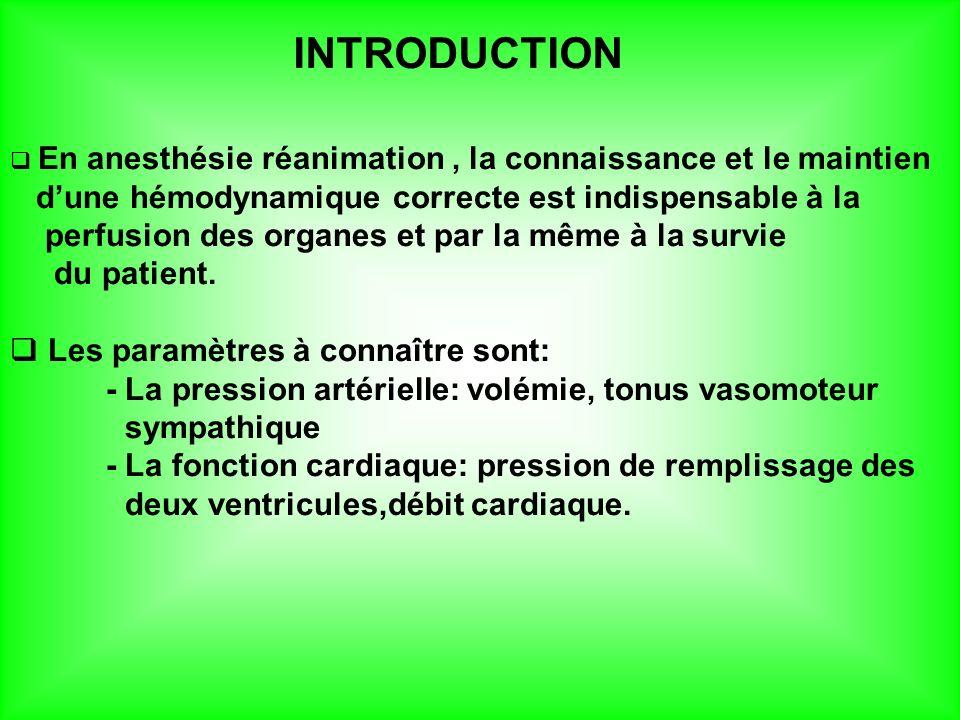 INTRODUCTION En anesthésie réanimation, la connaissance et le maintien dune hémodynamique correcte est indispensable à la perfusion des organes et par