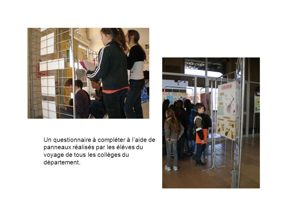 Un questionnaire à compléter à laide de panneaux réalisés par les élèves du voyage de tous les collèges du département.