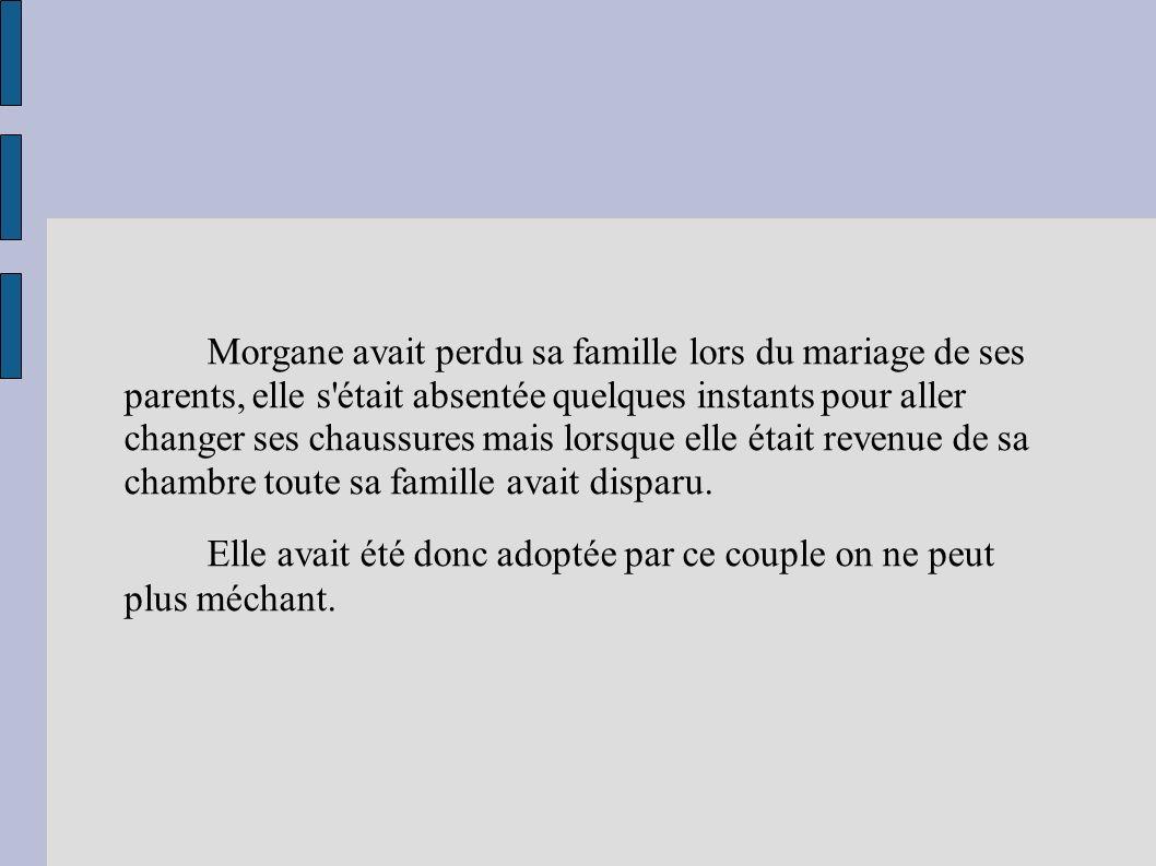 Morgane avait perdu sa famille lors du mariage de ses parents, elle s était absentée quelques instants pour aller changer ses chaussures mais lorsque elle était revenue de sa chambre toute sa famille avait disparu.