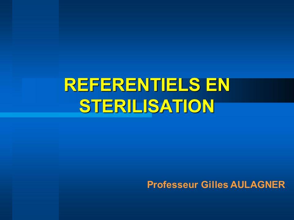 Différences désinfection/stérilisation Efficacité –Désinfection : 5 log (NFT 72 152 - EN 1040) si contamination initiale 10 6 x 5 log 10 1 : désinfecté SECURITE –Stérilisation : 10 -6 ¥ population initiale (EN 556) si contamination initiale 10 6 10 -6 ( 12 log) SECURITE Conservation de l état « germ free » –D.M.