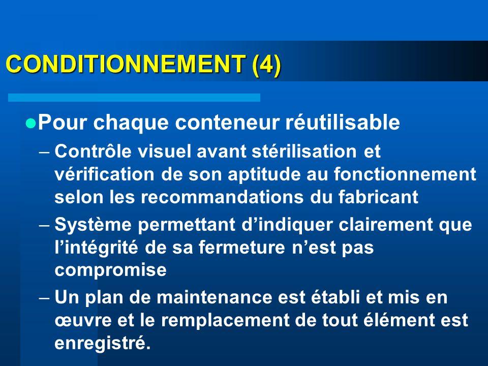 CONDITIONNEMENT (4) Pour chaque conteneur réutilisable –Contrôle visuel avant stérilisation et vérification de son aptitude au fonctionnement selon le