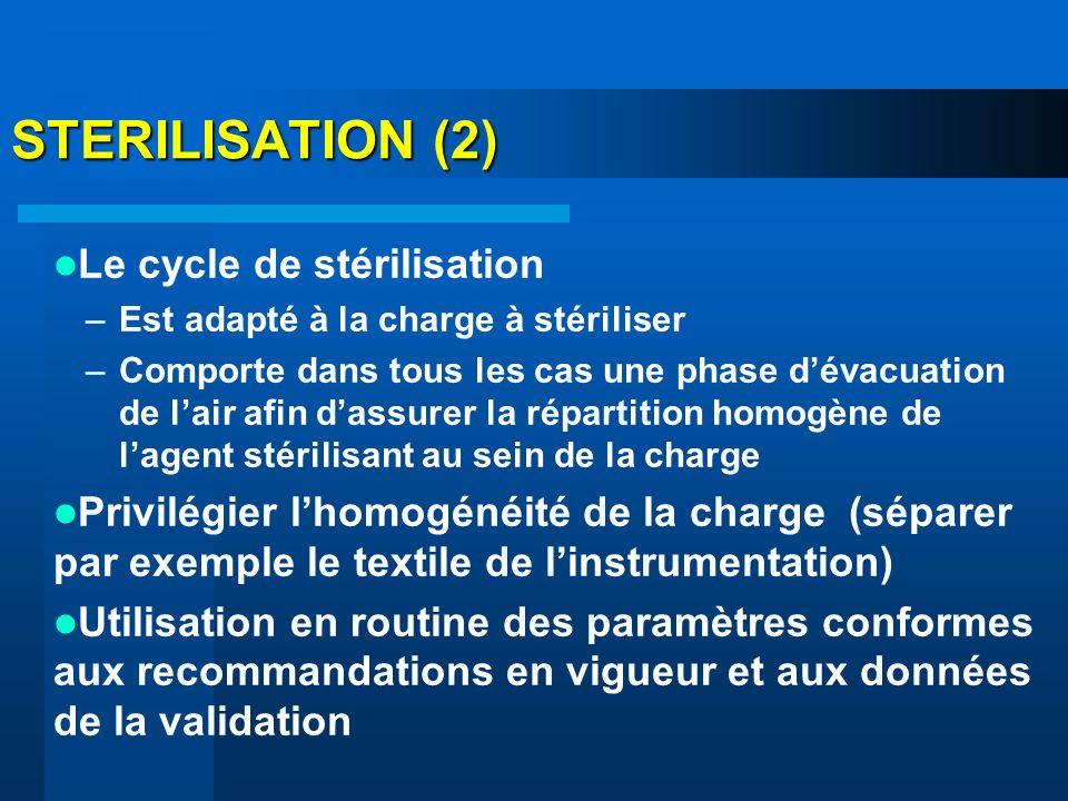 STERILISATION (2) Le cycle de stérilisation –Est adapté à la charge à stériliser –Comporte dans tous les cas une phase dévacuation de lair afin dassur