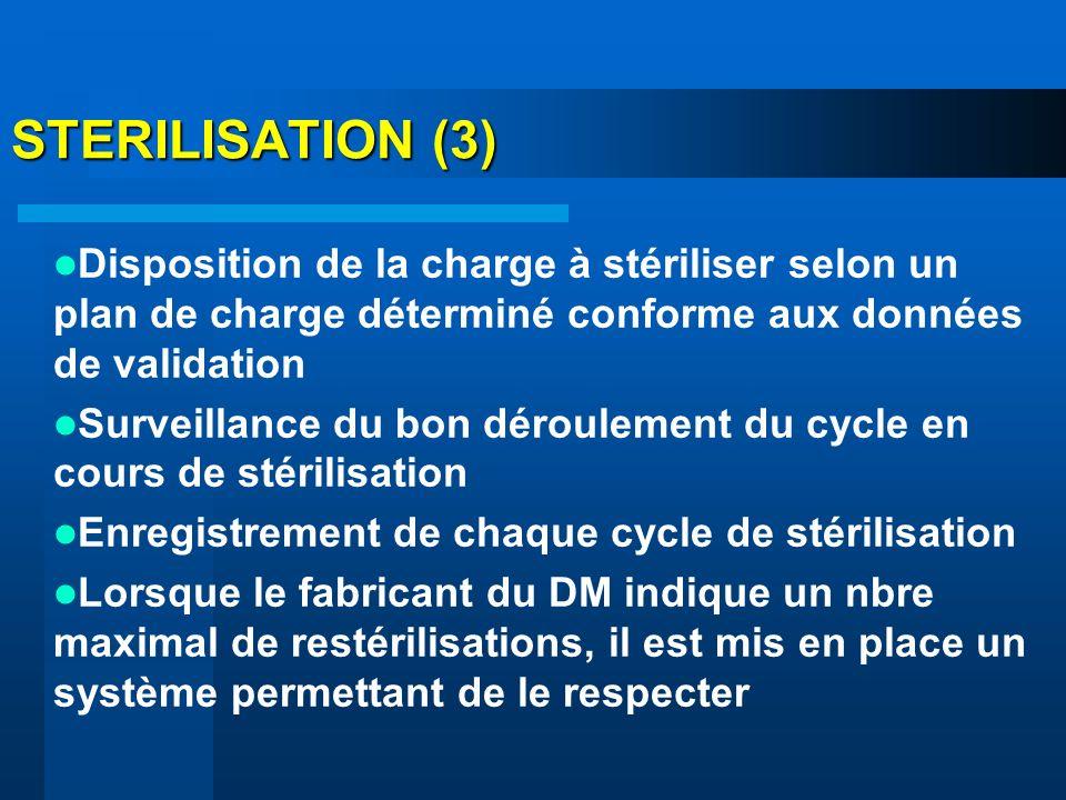 STERILISATION (3) Disposition de la charge à stériliser selon un plan de charge déterminé conforme aux données de validation Surveillance du bon dérou