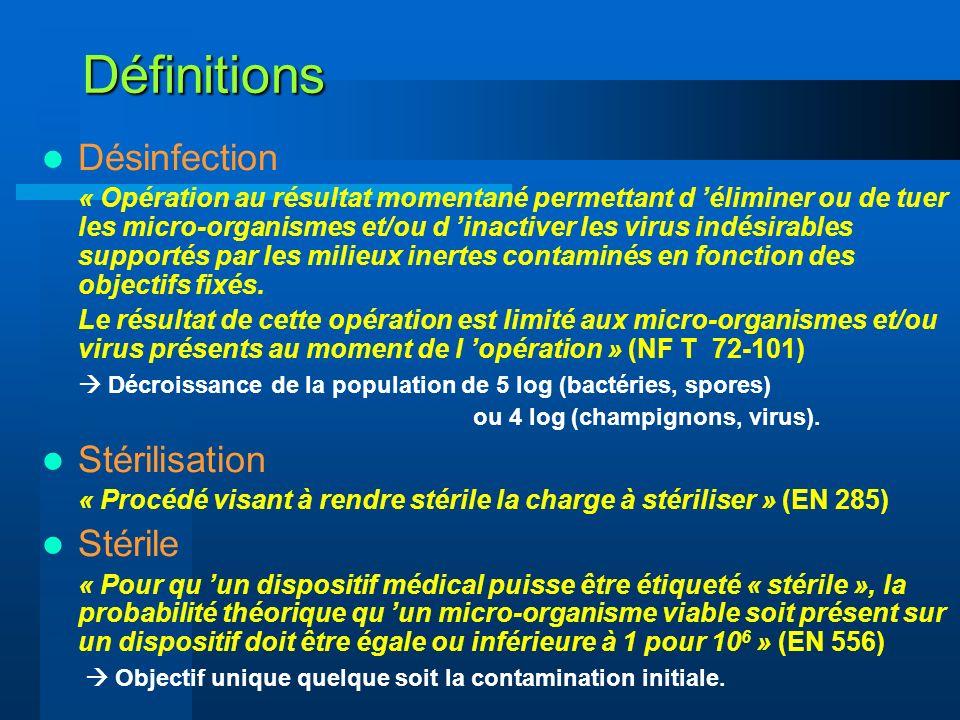 Définitions Désinfection « Opération au résultat momentané permettant d éliminer ou de tuer les micro-organismes et/ou d inactiver les virus indésirab