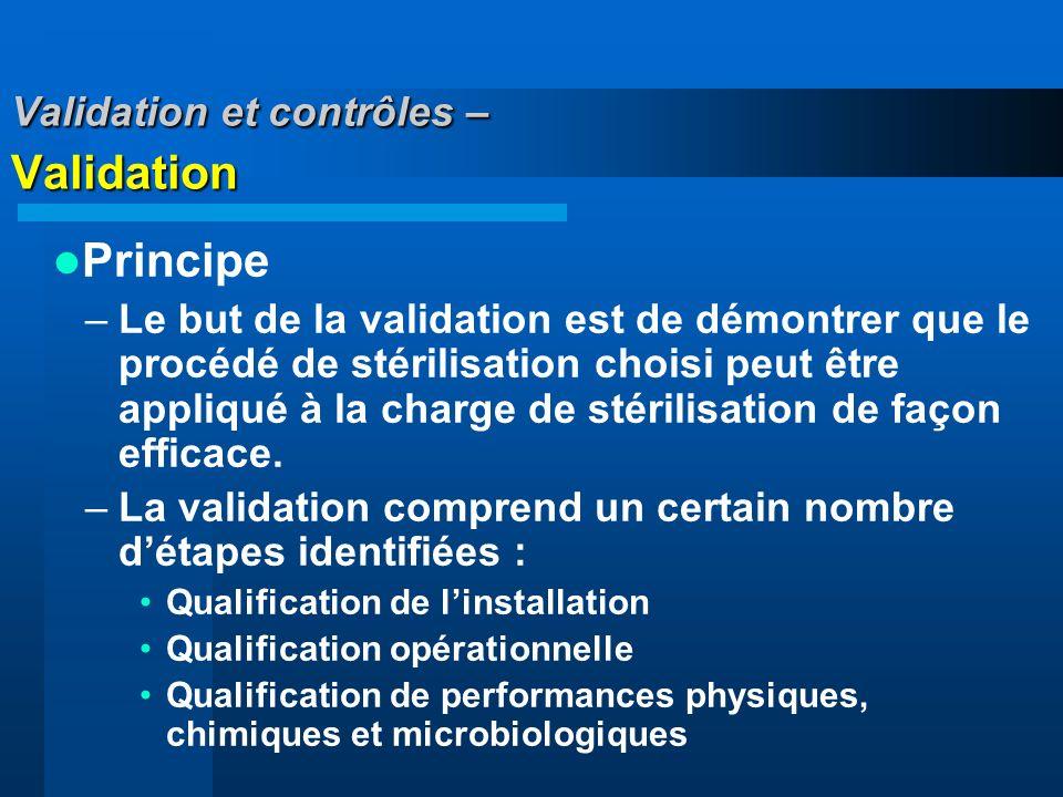Validation et contrôles – Validation Principe –Le but de la validation est de démontrer que le procédé de stérilisation choisi peut être appliqué à la