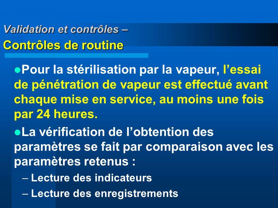 Validation et contrôles – Contrôles de routine Pour la stérilisation par la vapeur, lessai de pénétration de vapeur est effectué avant chaque mise en