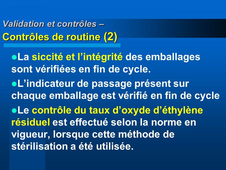 Validation et contrôles – Contrôles de routine (2) La siccité et lintégrité des emballages sont vérifiées en fin de cycle. Lindicateur de passage prés