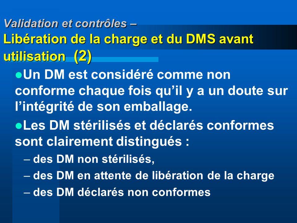 Validation et contrôles – Libération de la charge et du DMS avant utilisation (2) Un DM est considéré comme non conforme chaque fois quil y a un doute