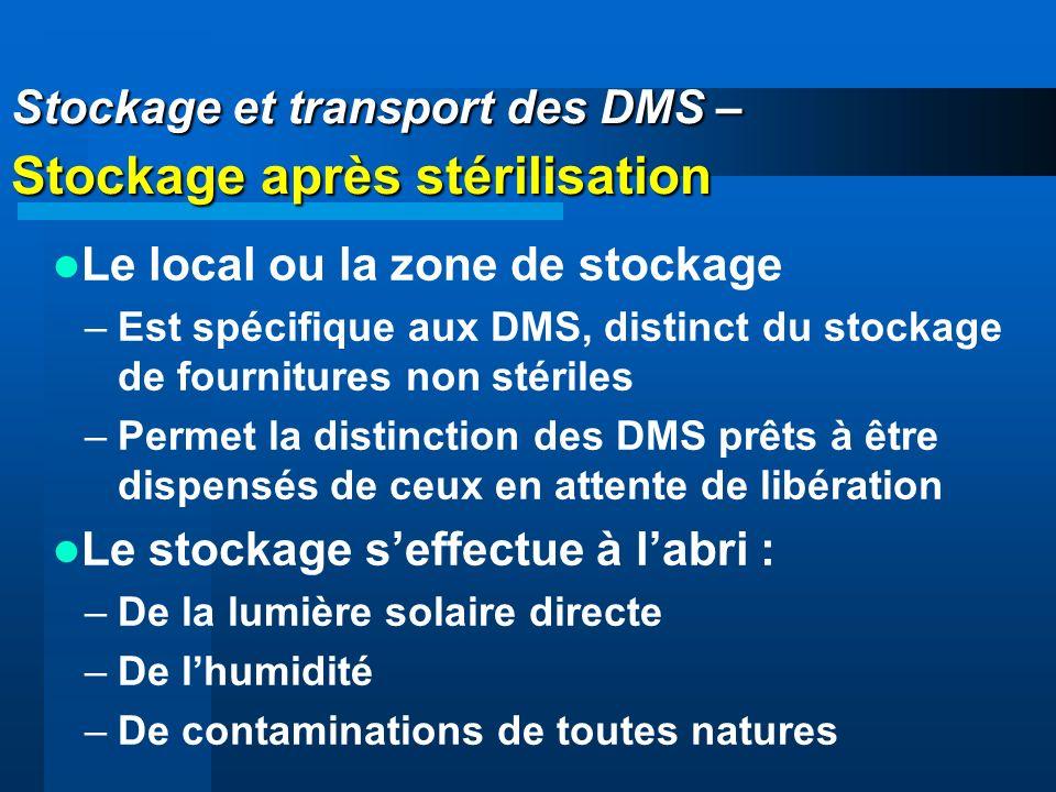 Stockage et transport des DMS – Stockage après stérilisation Le local ou la zone de stockage –Est spécifique aux DMS, distinct du stockage de fournitu