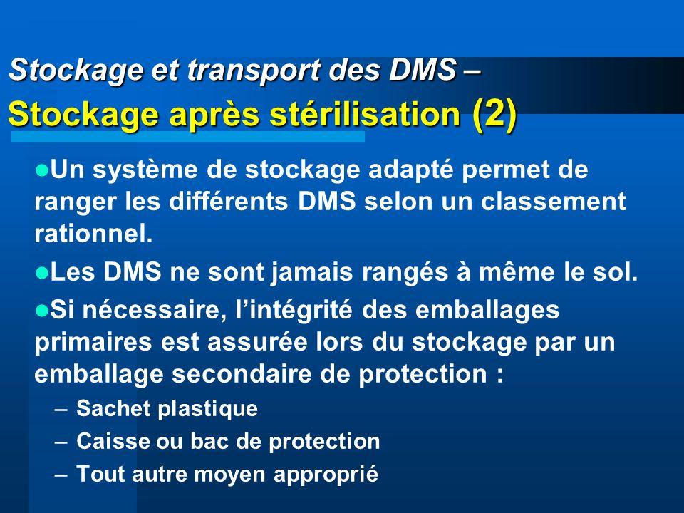Stockage et transport des DMS – Stockage après stérilisation (2) Un système de stockage adapté permet de ranger les différents DMS selon un classement