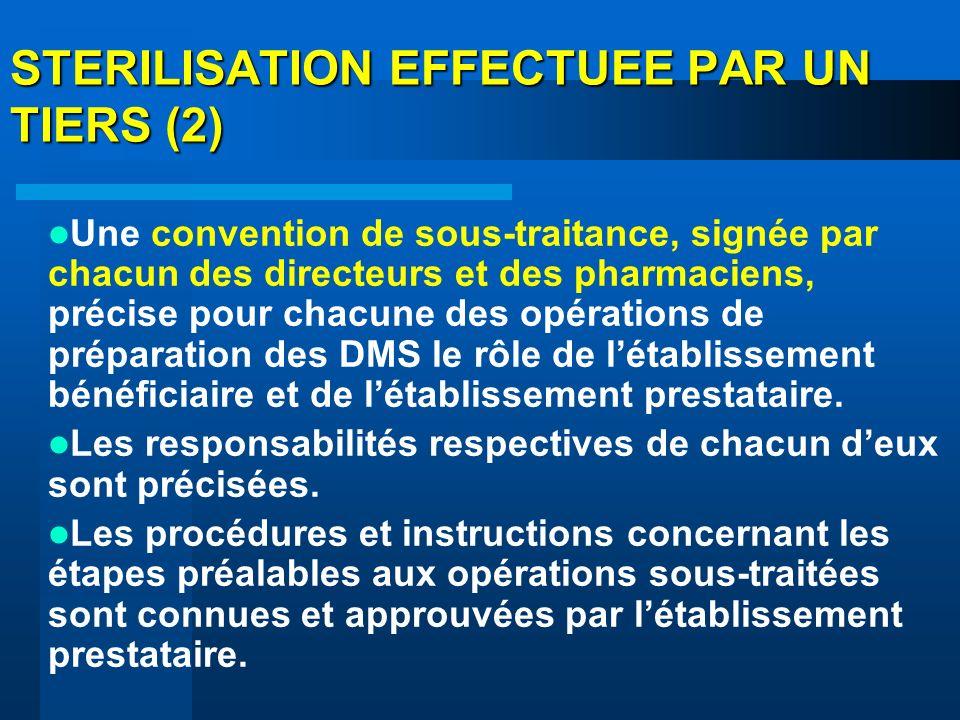 STERILISATION EFFECTUEE PAR UN TIERS (2) Une convention de sous-traitance, signée par chacun des directeurs et des pharmaciens, précise pour chacune d