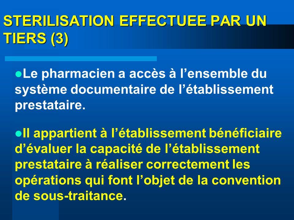 STERILISATION EFFECTUEE PAR UN TIERS (3) Le pharmacien a accès à lensemble du système documentaire de létablissement prestataire. Il appartient à léta