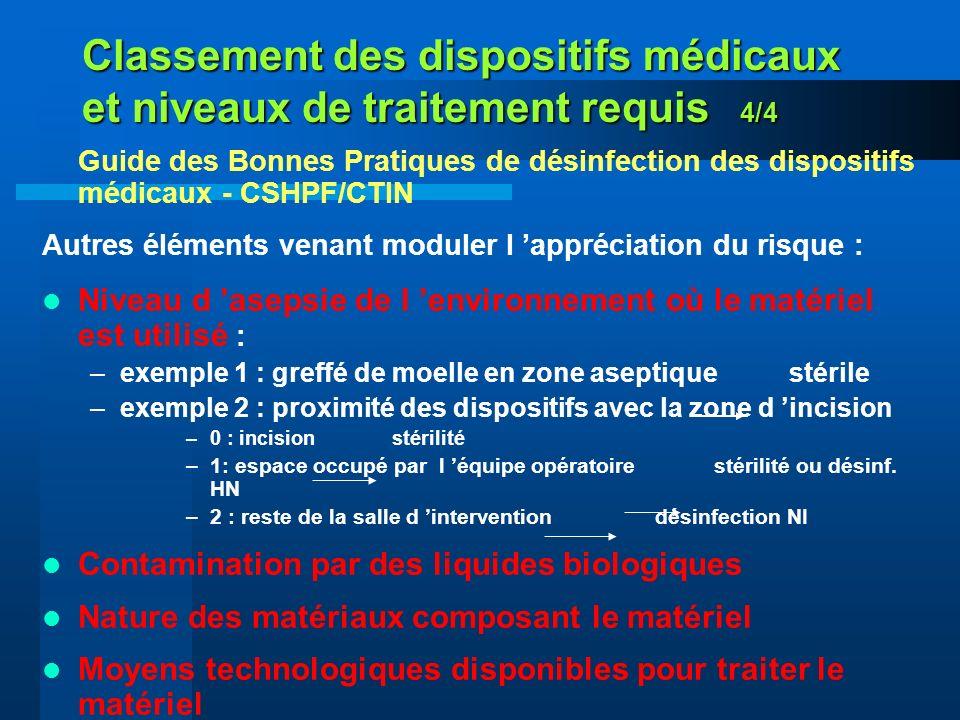 Classement des dispositifs médicaux et niveaux de traitement requis 4/4 Guide des Bonnes Pratiques de désinfection des dispositifs médicaux - CSHPF/CT