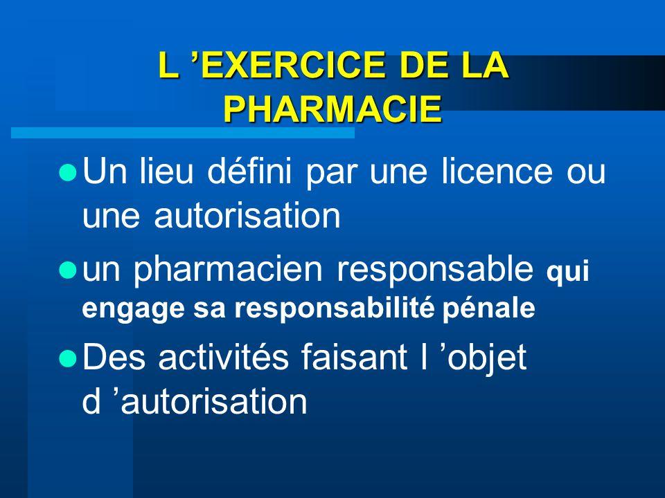 L EXERCICE DE LA PHARMACIE Un lieu défini par une licence ou une autorisation un pharmacien responsable qui engage sa responsabilité pénale Des activi