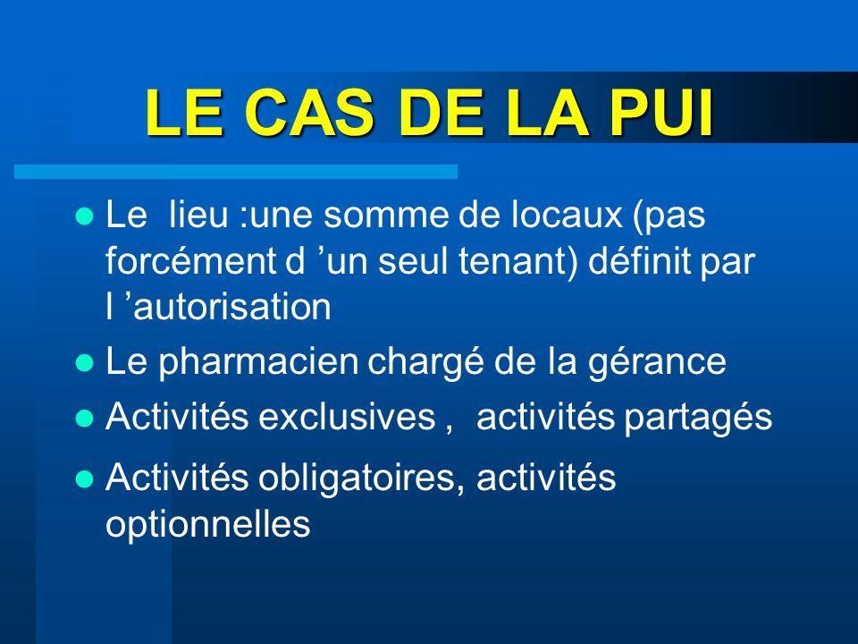LE CAS DE LA PUI Le lieu :une somme de locaux (pas forcément d un seul tenant) définit par l autorisation Le pharmacien chargé de la gérance Activités
