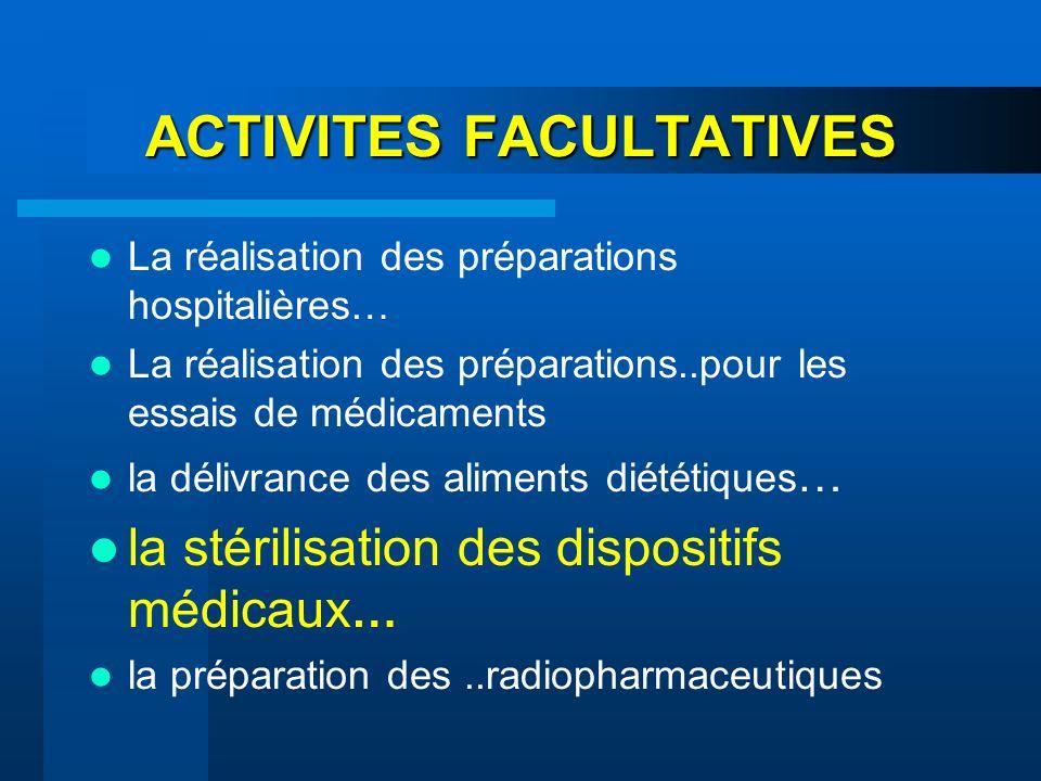 ACTIVITES FACULTATIVES La réalisation des préparations hospitalières… La réalisation des préparations..pour les essais de médicaments la délivrance de