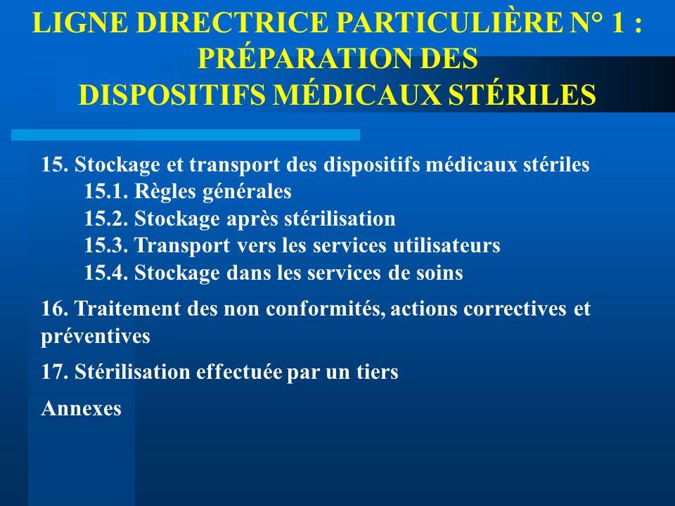 LIGNE DIRECTRICE PARTICULIÈRE N° 1 : PRÉPARATION DES DISPOSITIFS MÉDICAUX STÉRILES 15. Stockage et transport des dispositifs médicaux stériles 15.1. R