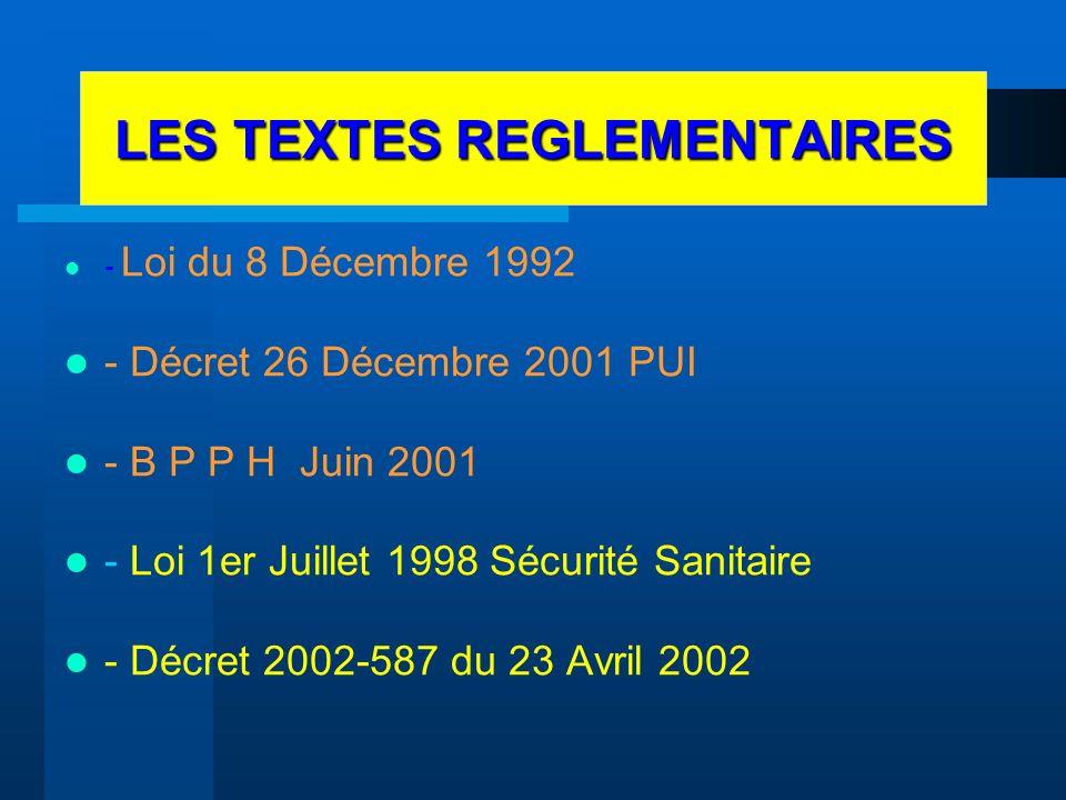 LES TEXTES REGLEMENTAIRES - Loi du 8 Décembre 1992 - Décret 26 Décembre 2001 PUI - B P P H Juin 2001 - Loi 1er Juillet 1998 Sécurité Sanitaire - Décre