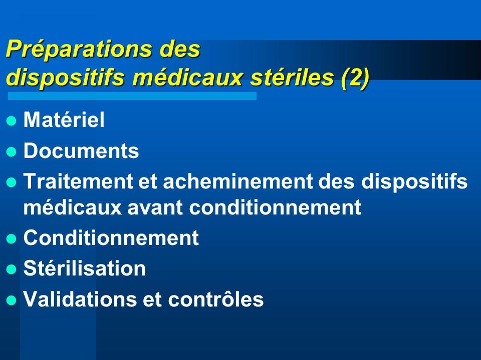 Préparations des dispositifs médicaux stériles (2) Matériel Documents Traitement et acheminement des dispositifs médicaux avant conditionnement Condit