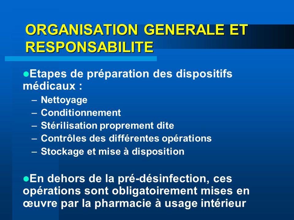 ORGANISATION GENERALE ET RESPONSABILITE Etapes de préparation des dispositifs médicaux : –Nettoyage –Conditionnement –Stérilisation proprement dite –C