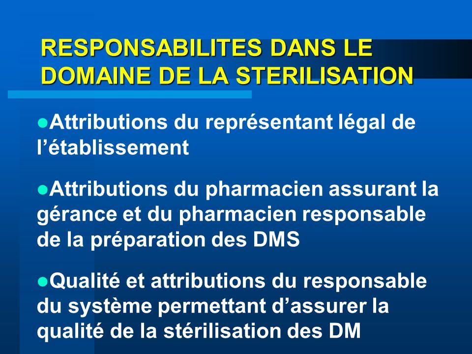 RESPONSABILITES DANS LE DOMAINE DE LA STERILISATION Attributions du représentant légal de létablissement Attributions du pharmacien assurant la géranc