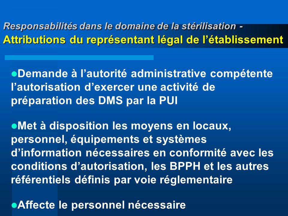 Responsabilités dans le domaine de la stérilisation - Attributions du représentant légal de létablissement Demande à lautorité administrative compéten