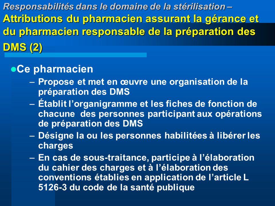 Responsabilités dans le domaine de la stérilisation – Attributions du pharmacien assurant la gérance et du pharmacien responsable de la préparation de