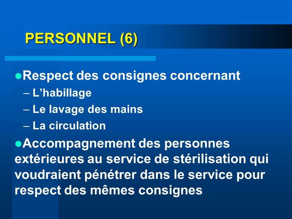 PERSONNEL (6) Respect des consignes concernant –Lhabillage –Le lavage des mains –La circulation Accompagnement des personnes extérieures au service de