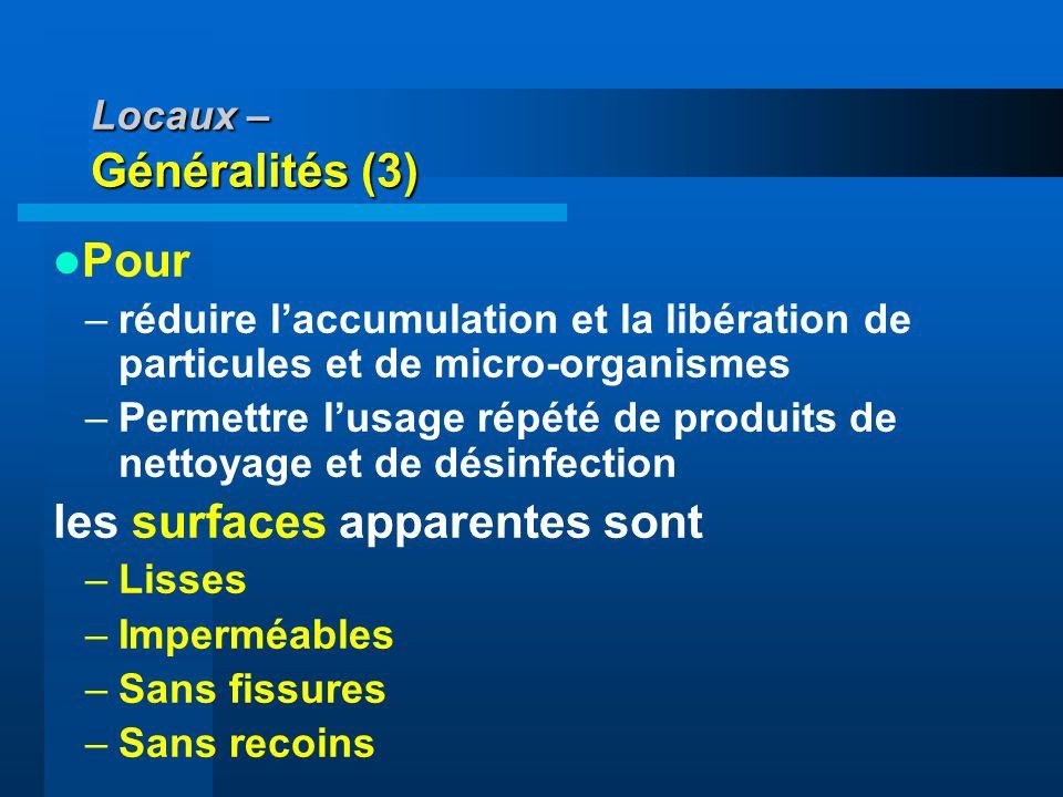 Locaux – Généralités (3) Pour –réduire laccumulation et la libération de particules et de micro-organismes –Permettre lusage répété de produits de net