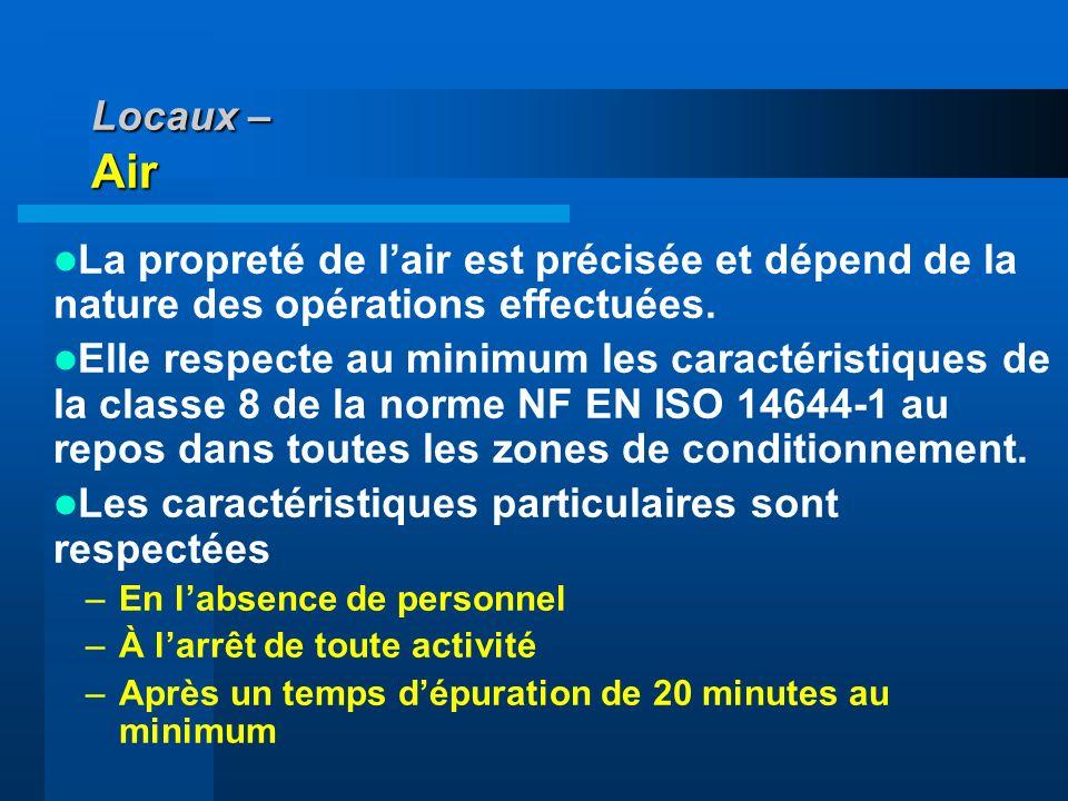 Locaux – Air La propreté de lair est précisée et dépend de la nature des opérations effectuées. Elle respecte au minimum les caractéristiques de la cl