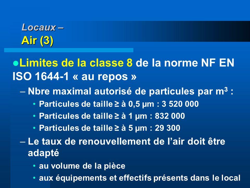 Locaux – Air (3) Limites de la classe 8 de la norme NF EN ISO 1644-1 « au repos » –Nbre maximal autorisé de particules par m 3 : Particules de taille