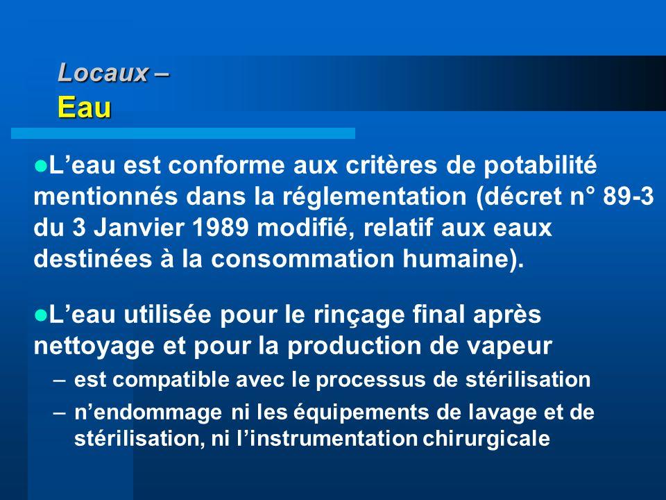 Locaux – Eau Leau est conforme aux critères de potabilité mentionnés dans la réglementation (décret n° 89-3 du 3 Janvier 1989 modifié, relatif aux eau