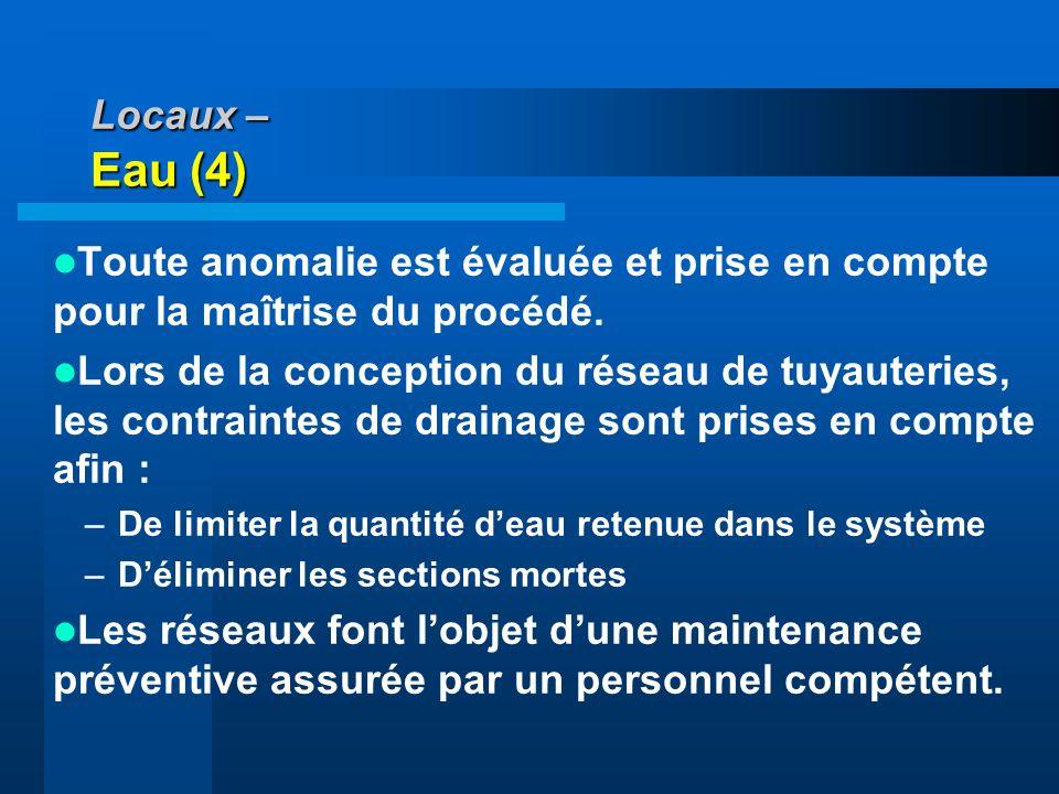 Locaux – Eau (4) Toute anomalie est évaluée et prise en compte pour la maîtrise du procédé. Lors de la conception du réseau de tuyauteries, les contra
