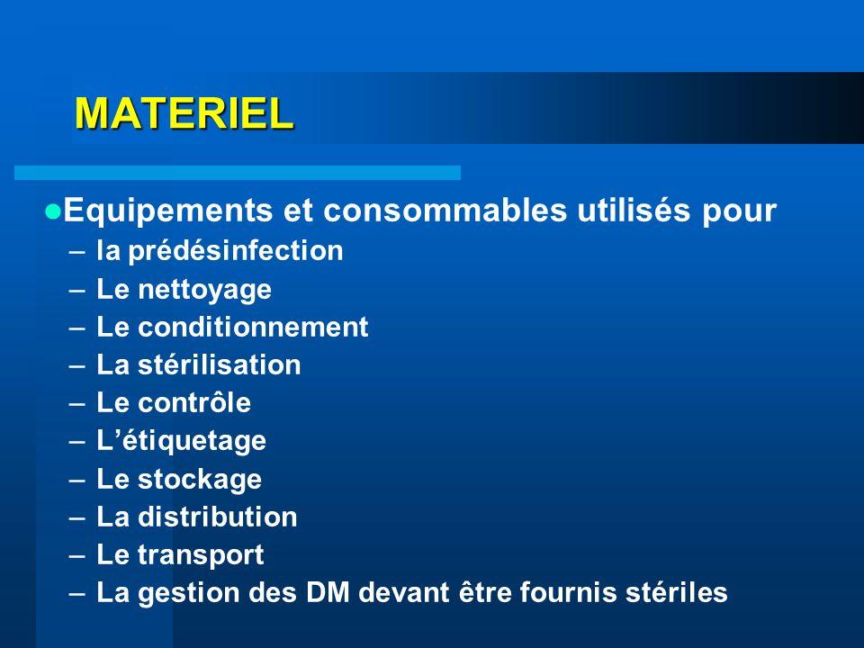 MATERIEL Equipements et consommables utilisés pour –la prédésinfection –Le nettoyage –Le conditionnement –La stérilisation –Le contrôle –Létiquetage –