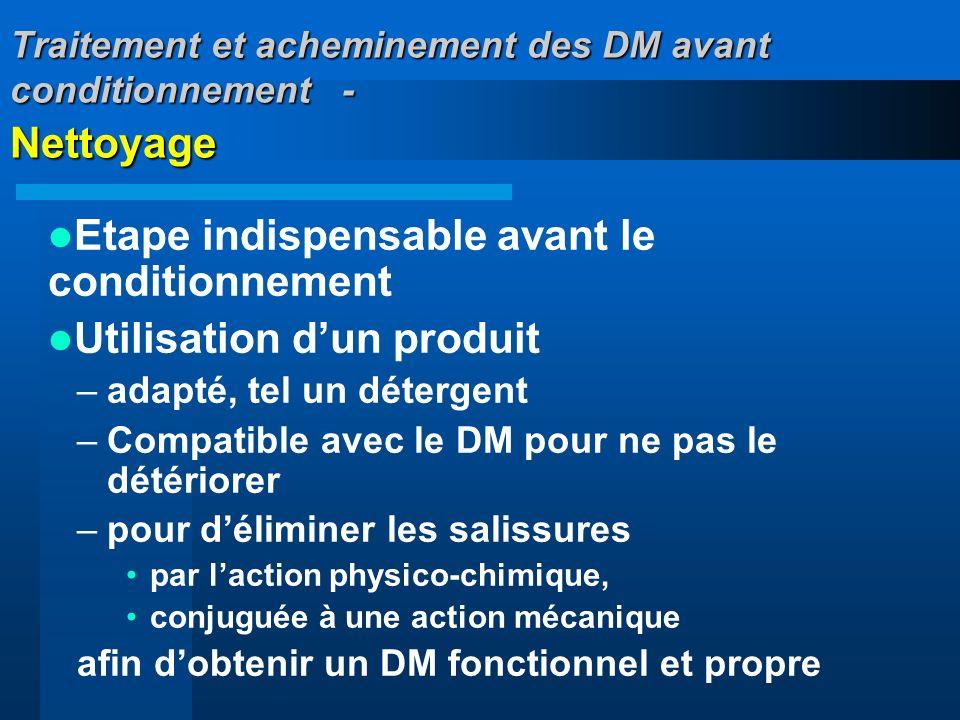 Traitement et acheminement des DM avant conditionnement - Nettoyage Etape indispensable avant le conditionnement Utilisation dun produit –adapté, tel