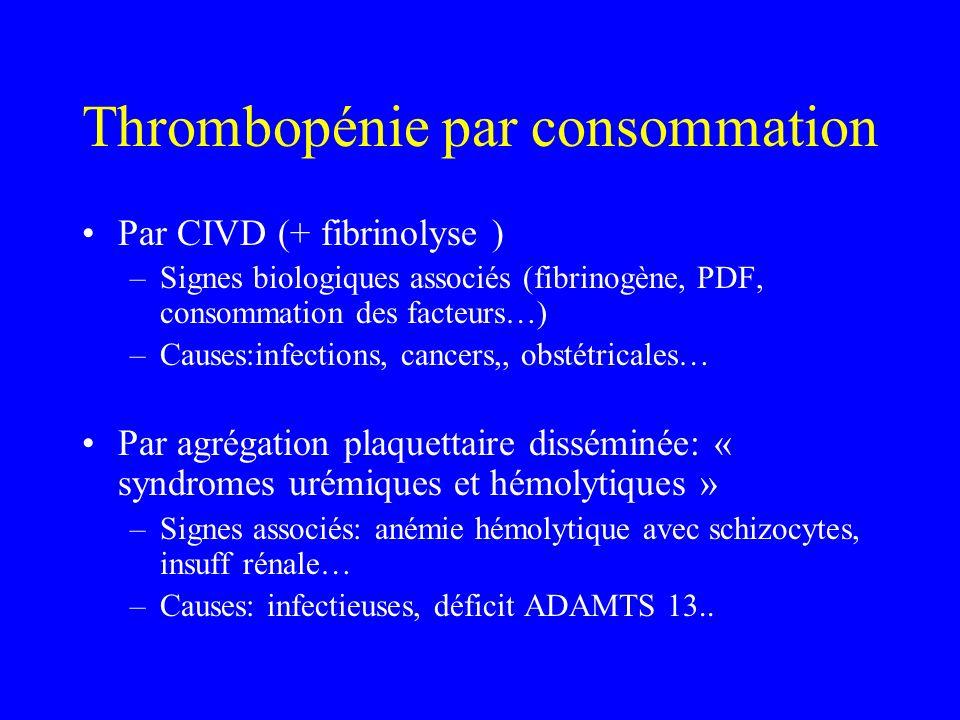 Thrombopénie par consommation Par CIVD (+ fibrinolyse ) –Signes biologiques associés (fibrinogène, PDF, consommation des facteurs…) –Causes:infections