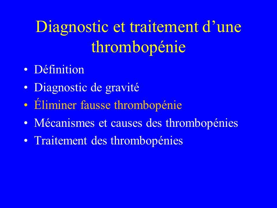 Thrombopénie par destruction autoimmune Causes: –Virus (MNI, CMV, hépatite B et C, rubéole, varicelle…) –Hémopathies lymphoides chroniques (LLC, lymphomes) –Maladies de système PR Lupus Syndrome des antiphospholipides Sarcoidose, coliste inflammatoires (Crohn, RCH)… Idiopathique (PTI) +++++