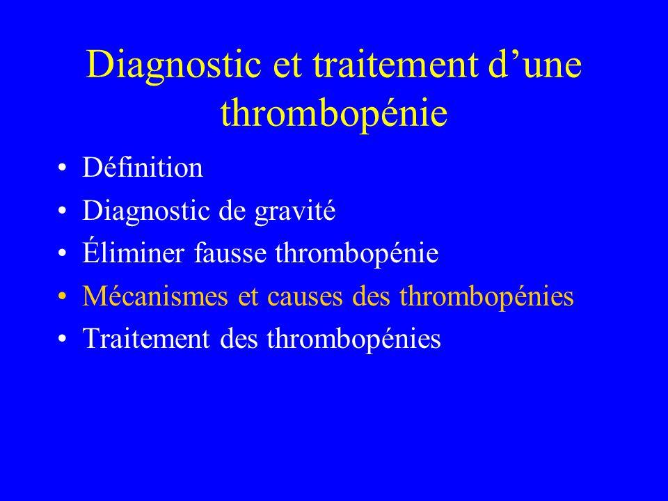 Mécanisme et cause de la thrombopénie Centrale: insuffisance médullaire Périphérique: –Séquestration splénique –Consommation –Destruction immunologique (Thrombopénies familiales)