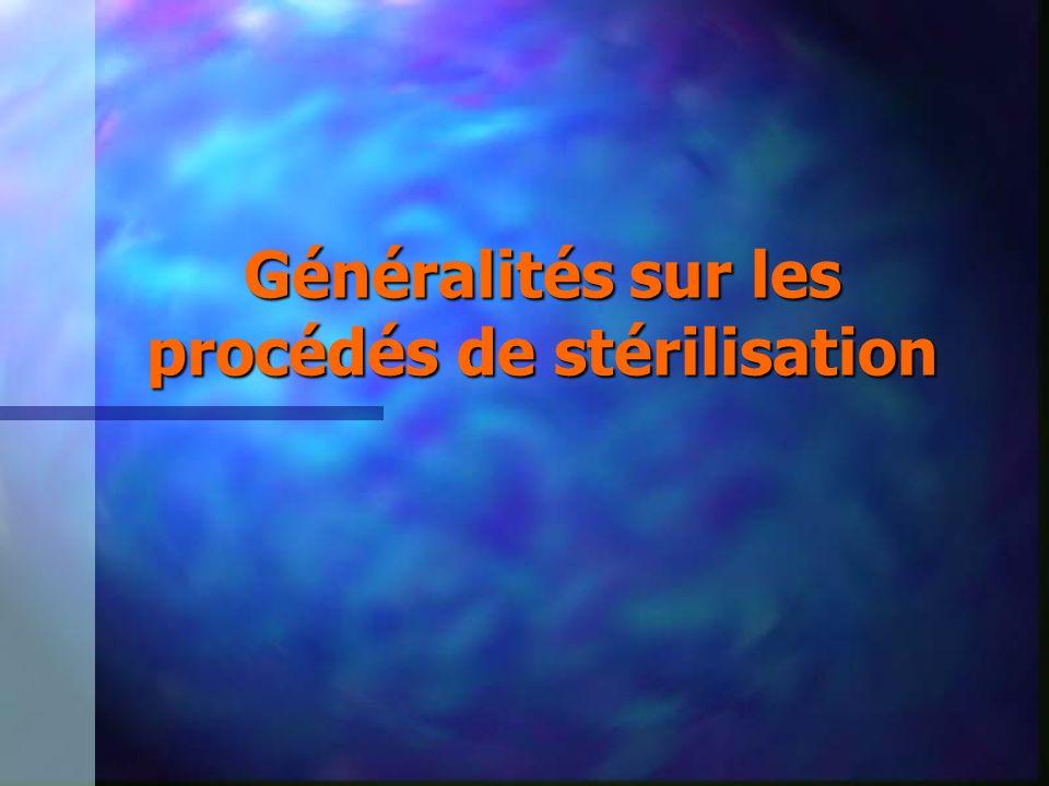 Avantages/inconvénients Stérilisation par le formaldéhyde n AVANTAGES –permet la stérilisation des objets thermosensibles –produit peu toxique pour le personnel, le malade et l environnement –produit peu coûteux –ne nécessite a priori pas de désorption