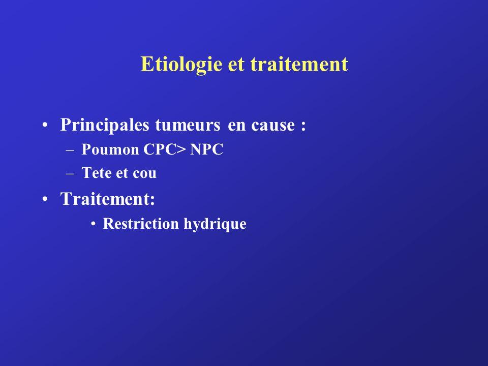 Etiologie et traitement Principales tumeurs en cause : –Poumon CPC> NPC –Tete et cou Traitement: Restriction hydrique