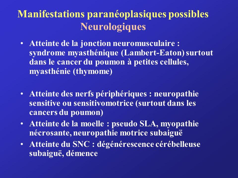 Manifestations paranéoplasiques possibles Neurologiques Atteinte de la jonction neuromusculaire : syndrome myasthénique (Lambert-Eaton) surtout dans l