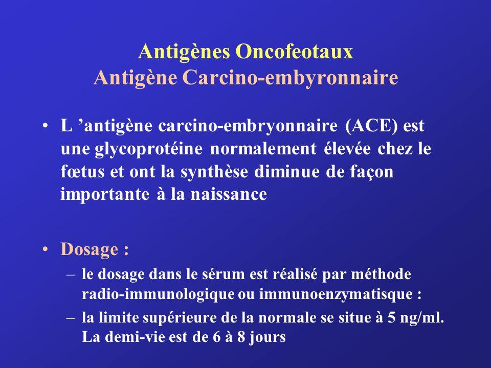 Antigènes Oncofeotaux Antigène Carcino-embyronnaire L antigène carcino-embryonnaire (ACE) est une glycoprotéine normalement élevée chez le fœtus et on