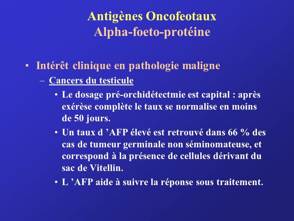 Antigènes Oncofeotaux Alpha-foeto-protéine Intérêt clinique en pathologie maligne –Cancers du testicule Le dosage pré-orchidétectmie est capital : apr