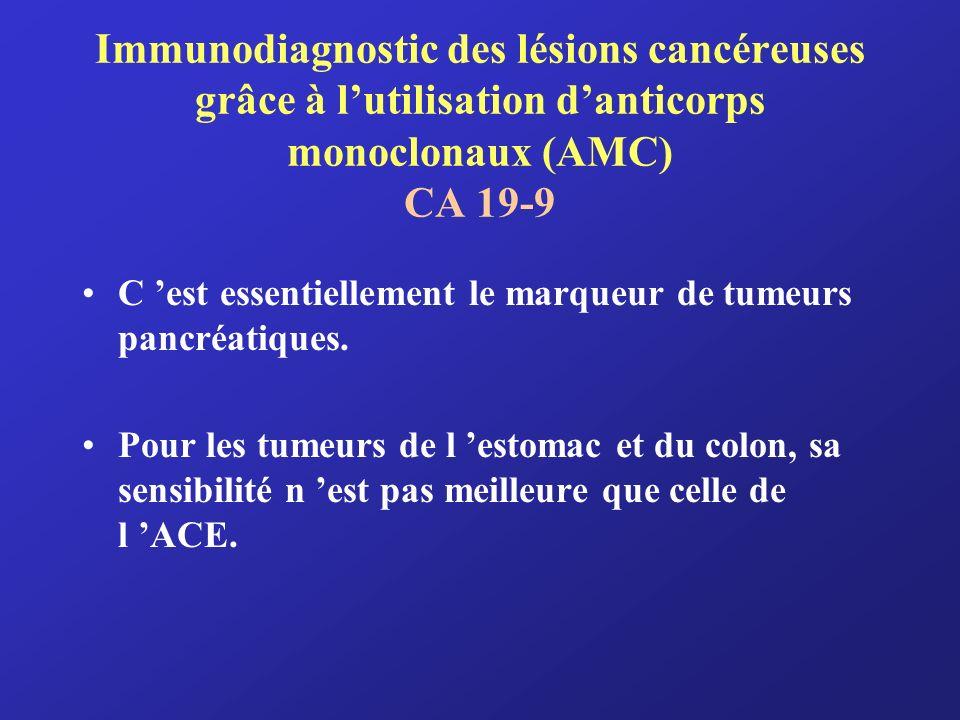 Immunodiagnostic des lésions cancéreuses grâce à lutilisation danticorps monoclonaux (AMC) CA 19-9 C est essentiellement le marqueur de tumeurs pancré