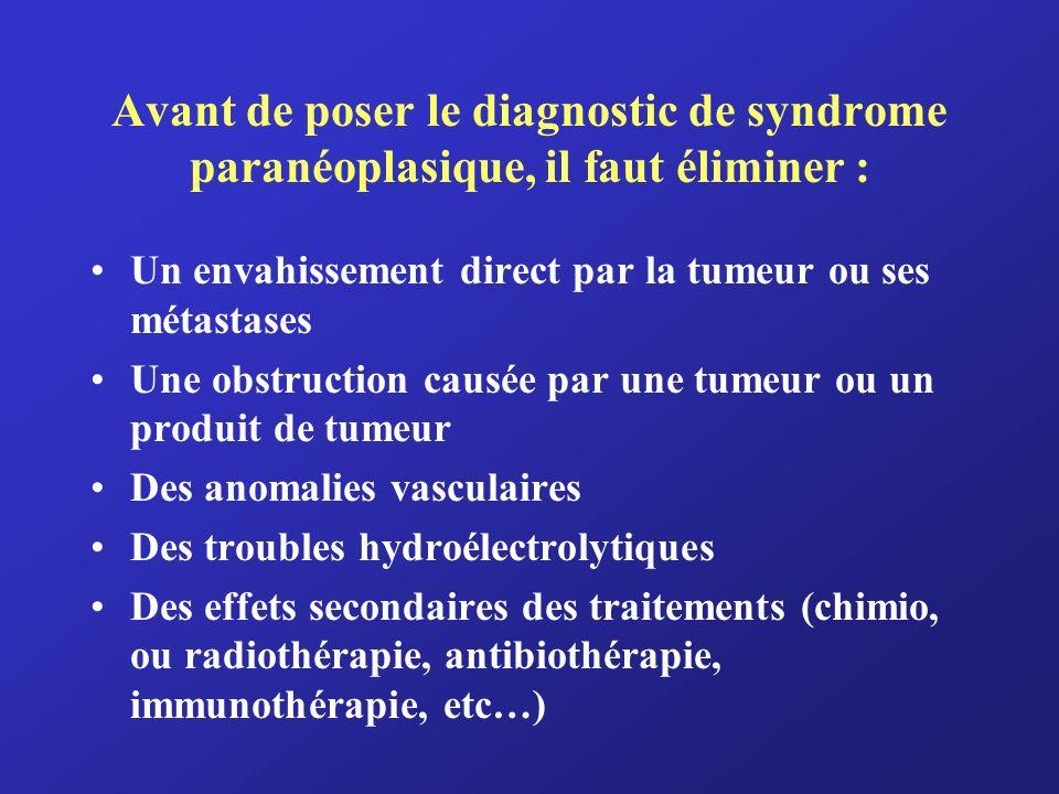 Avant de poser le diagnostic de syndrome paranéoplasique, il faut éliminer : Un envahissement direct par la tumeur ou ses métastases Une obstruction c