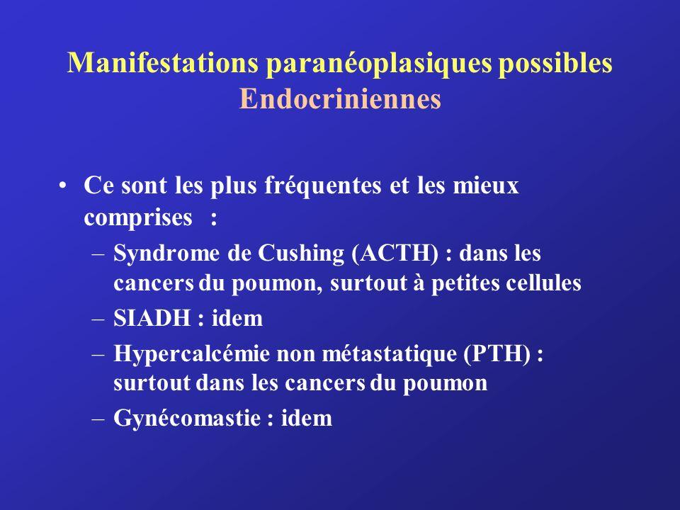 Manifestations paranéoplasiques possibles Endocriniennes (suite) –A titre documentaire : hyperthyroïdie, hypersécrétion de calcitonine (cancer médullaire de la thyroïde), acromégalie hypoglycémie,.