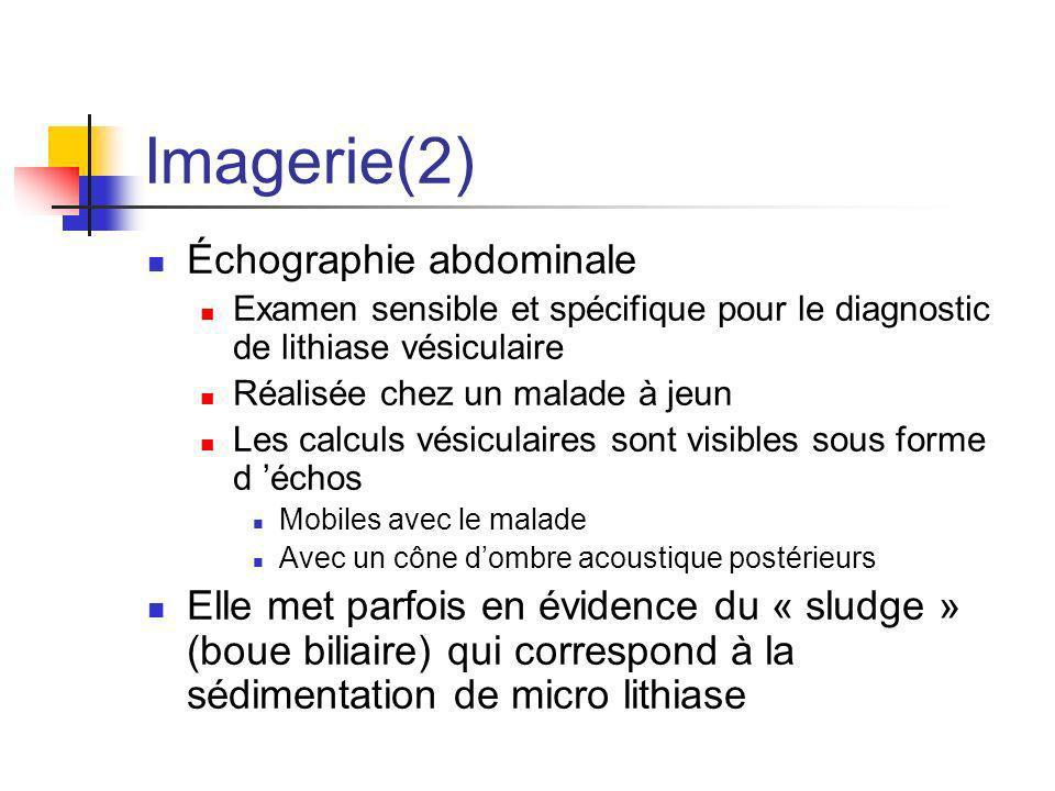 Imagerie(2) Échographie abdominale Examen sensible et spécifique pour le diagnostic de lithiase vésiculaire Réalisée chez un malade à jeun Les calculs