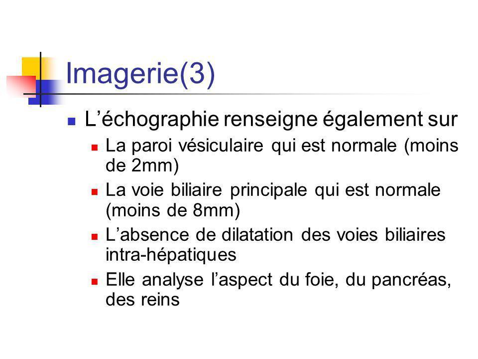 Imagerie(3) Léchographie renseigne également sur La paroi vésiculaire qui est normale (moins de 2mm) La voie biliaire principale qui est normale (moin