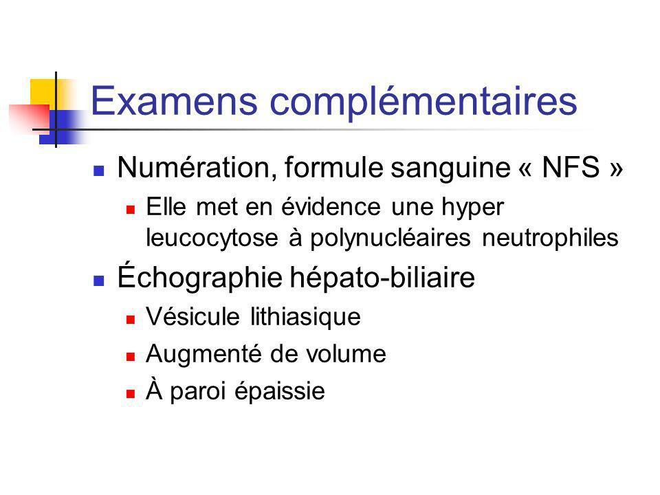 Examens complémentaires Numération, formule sanguine « NFS » Elle met en évidence une hyper leucocytose à polynucléaires neutrophiles Échographie hépa