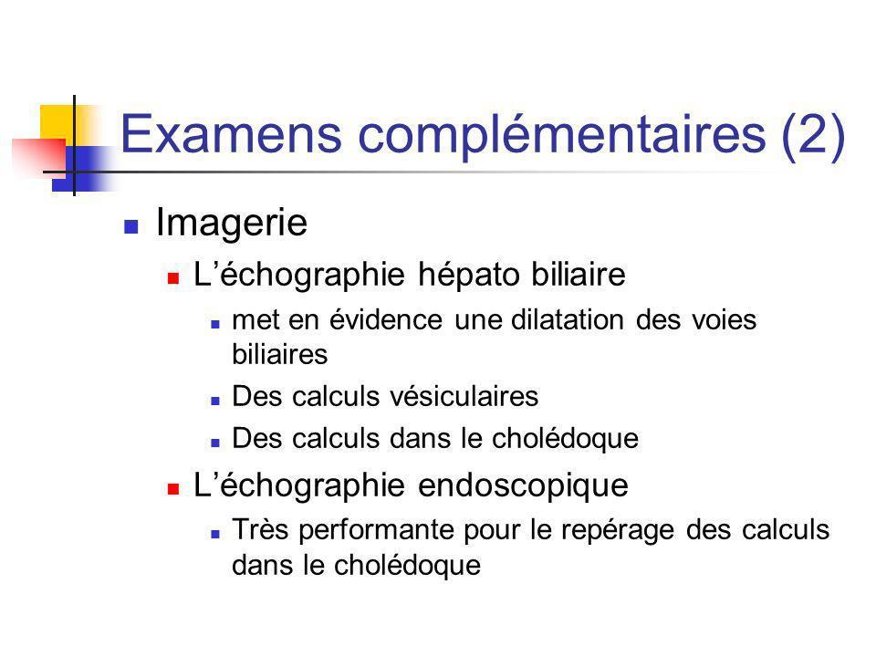 Examens complémentaires (2) Imagerie Léchographie hépato biliaire met en évidence une dilatation des voies biliaires Des calculs vésiculaires Des calc